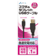 エアージェイ USB 2Aカラーケーブル 1M BK UKJ2AN-1M BK
