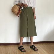 韓国風 新しいデザイン ハイウエスト 着やせ A型スカート 女 夏 何でも似合う ロング