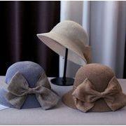 ★新品登場★ポリエステル帽子 リボン付き 小顔効果 四色 サイズ調節可 芸能人風