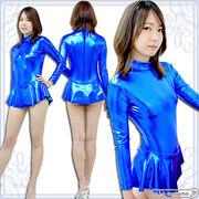 ■送料無料■ スカート付き長袖レオタード(後ファスナー) 色:青 サイズ:M/BIG ■SK付■