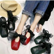 ★シューズ新作★サンダル かわいい 蝶結び  ミュール 靴 3色