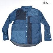 【2017秋冬】4.5OZデニム ブロック切替 ボタンダウンシャツ