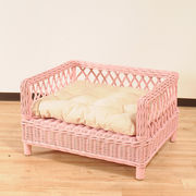 【ラタン家具】 ペットベッド ピンク (天然ラタン使用)(直送可能)