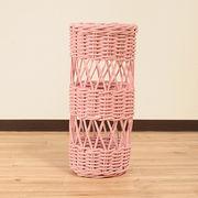 【ラタン家具】 傘立て ピンク (天然ラタン使用)(直送可能)