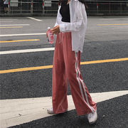 秋服 新しいデザイン 韓国風 ルース ワイドパンツ ストライプス カジュアルパンツ ひも