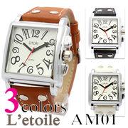 【L'etoile】スクエアフェイス メンズ 腕時計 AM01