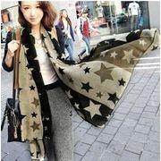 /韓流スタイル/ファッションナブルなマフラー新作/星柄プリントのロングスカーフ♪柔らかいシフォン材質
