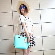 夏らしいお菓子カラーの手持ちバッグ/革バッグ/斜め掛けバッグ♪