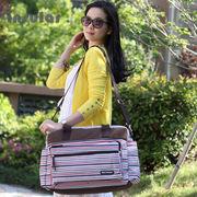 ボーダー柄色切り替え色切り替え産前産後使用可ベビー用品入れ大容量多機能な母バッグ