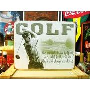 アメリカンブリキ看板 ゴルフをする一番の日