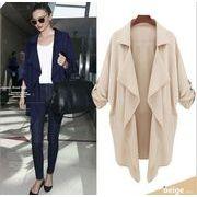 折り返し襟七分袖不規則デザインモノカラーゆったりとした中長丈コート