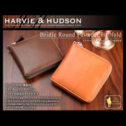 Harvie and Hudson ラウンドファスナー 二つ折り財布 キャメル HA-1004-CM