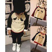 韓国 子供 ベビー パーカー セットアップ パンダ柄 動物 耳付き 男女兼用 厚手 裏起毛 2色