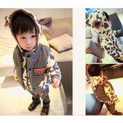 韓国式 チャップ付き 綿入れ 乳牛柄 3点セット 冬物 キッズ 子供服 長袖 カーパー ジュニア 3色