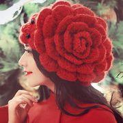 花 帽子 ლ(╹◡╹ლ) もこもこ 可愛い アタタカイ