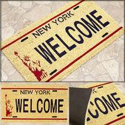 ★コイヤーマット★ココナツ★【ナンバープレート】ニューヨーク  ウェルカム★New York WELCOME★