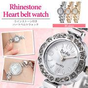 【Bel Air Collection】煌びやかなラインストーンベゼル ハートモチーフ レディース腕時計 DNS11