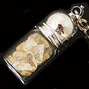 天然石チップ お守り瓶キーホルダー シトリン(Citrine)