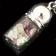 天然石チップ お守り瓶キーホルダー フローライト(Fluorite)