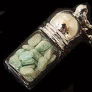天然石チップ お守り瓶キーホルダー アフリカンアマゾナイト(African Amazonite)