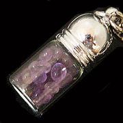 天然石チップ お守り瓶キーホルダー アメジスト(Amethyst)