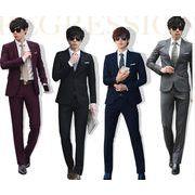 スーツ 上下セット   ジャケット+ズボン 2点セット  二次会 紳士 結婚式 入学 就職