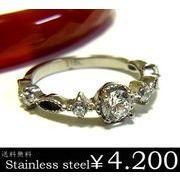 ダイヤモンドCZステンレスリング/キュービックジルコニア/st/プレゼント/ギフト
