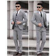 メンズスーツ・セットアップ 1ボタン/チドリ格子柄 メンズスリムスーツ ビジネススーツsuit結婚式入学式