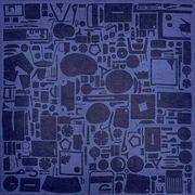加藤萬 和雑貨 祝い文 ファブリック Sサイズ 道具 藍色 52×52cm