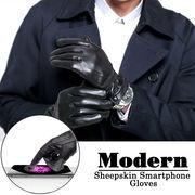 メンズ 本革 スマートフォン タッチグローブ 全指タッチ可能