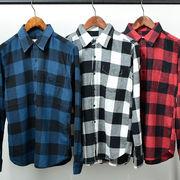 【2016AW新作】 メンズ ビエラ起毛 ブロックチェックシャツ / ネルシャツ 長袖 フランネル 秋 冬
