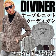 バックスタイルにも注目♪【DIVINER】クロスボーン刺繍入りショールカラーカーディガン/アウター 羽織り