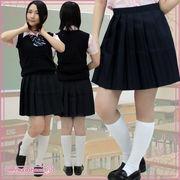 ■送料無料■無地プリーツスカート単品 色:無地紺 サイズ:M/BIG