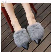 秋冬★ピーズ靴★レアルウサギの毛皮★フラット★スリッパ★女★何でも似合う★フラット★ふわ