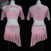 激安!ベリーダンス衣装◆ステージ◆コスチューム◆ラテン◆シャツ+べアトップ+プリーツスカート