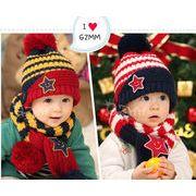 ◆【メーカー直輸入】秋冬★可愛い★韓国風★キッズ帽子★キッズ男女★帽子、マフラーの2点セット