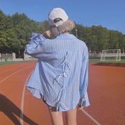 女性服★新しいデザイン★韓国風★スピーカースリーブ★包帯★ストライプス★シャツ★長袖シャ