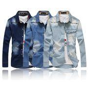 ワイシャツ♪ダークブルー/ライトブルー/ブルー3色展開◆【春夏新作】