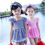 可愛い 女の子 水着 3点セット ジュニア ビキニ セパレート スポーツ 砂浜 プール キッズ 子供服 全2色