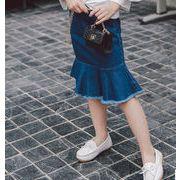 【ニュースタイル !!】子供スカート★デニムスカート★伸縮性★ファッション★スカラップ★100-140