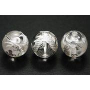 【彫刻ビーズ】水晶 14mm (白彫り) 白龍 (五爪龍)