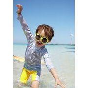 水着セパレートキッズ男の子スイムキャップ 長袖トップス ハーフパンツ3点セットアップ水泳帽紫外線防止