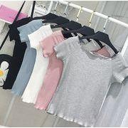2017♪海外大流行♪ファション♪着痩せ効果抜群 一字襟 半袖 Tシャツ  全7色 7apr-puff-x07