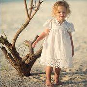 女の子 可愛い 肩フリル 夏ワンピース ラウンドネック ノースリーブ プリンセス ドレス キッズ 子供服