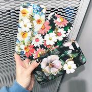 【即納】花柄飾り付きスマホケース レディース iphone