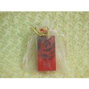 花リボン付 オーガンジー 巾着袋(中) 2色(オレンジ、サックス欠品中)