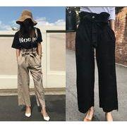 パンツ リボン付き ゆったり 無地 キャメル/ブラック #700973