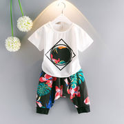 格安!100、110、120、130、140セット★キッズ★韓国風★プリント★ハレムパンツ★Tシャツ+ズボン