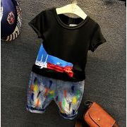 男の子上下2点セット 半袖 プリントTシャツ ラウンドネック デニムパンツ カジュアル キッズ 子供服