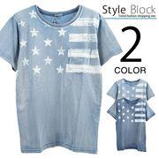 カットデニムプリントポケットTシャツ/sb-255692